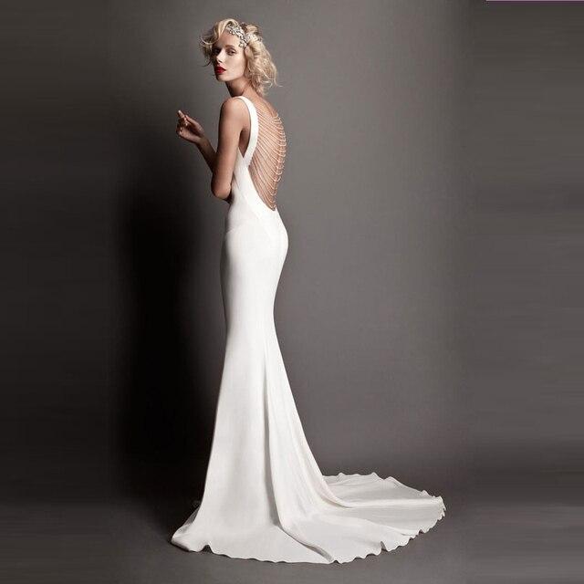 Sexy backless mermaid evening dresses beaded abendkleider for White silk slip wedding dress