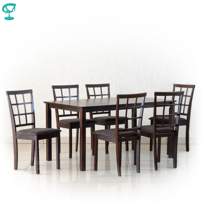 Set302Wenge6S3 Set Wooden Table Barneo T-302 1 Pcs Wooden Chair Barneo S-3 6 Pcs Kitchen Furniture Wenge Free Shipping In Russia