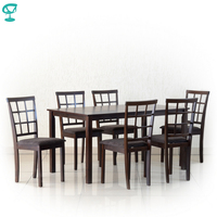 Set302Wenge6S3 Set Wooden Table Barneo T 302 1 pcs Wooden chair Barneo S 3 6 pcs Kitchen Furniture wenge free shipping in Russia