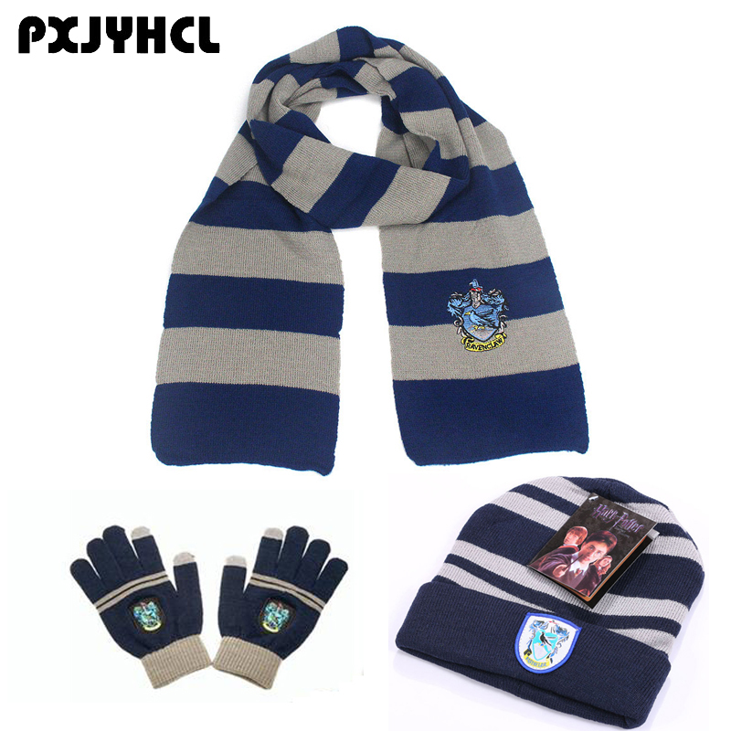 Adult Kid Gryffindor Slytherin Hufflepuff Ravenclaw Cosplay Scarf Hat Touch Glove Scarf Warm Anime Neckerchief Christmas Gift