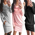 2016 Winter Autumn fashion Dress Women Ukraine sweater dress long sleeve bow neck Party solid vestidos pink black
