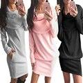 2017 Зима Осень мода Dress Женщины Украины свитер dress длинным рукавом лук шеи Партия твердые vestidos розовый черный