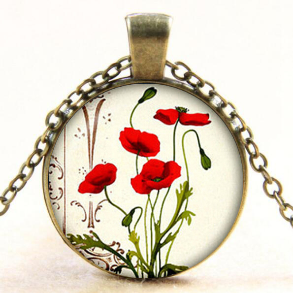 Red Poppy Flowers Glass Dome Pendant Necklace Poppy Flowers Jewelry Necklace For Womens Gifts drop shopping YLQ1098