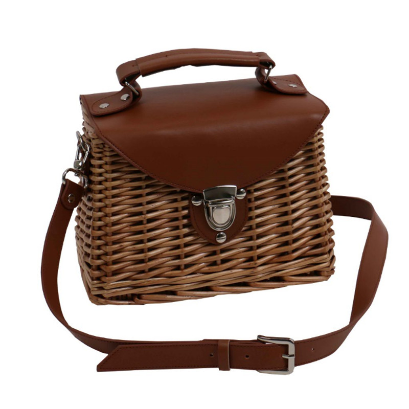 Seaside Holiday Basket Bag Rattan Female Bag Famous Design Fashion Shoulder Messenger Bags Women Purse and Handbags-in Shoulder Bags from Luggage & Bags    3