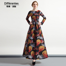 2017 autumn pleated jacquard dress women's vintage elegant plus size dress slim o-neck long sleeve dress spring female