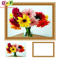 DPF With Frame Diamond Painting Cross Stitch Color Floral Kits 5D Round Full Diamond Mosaic Diamond