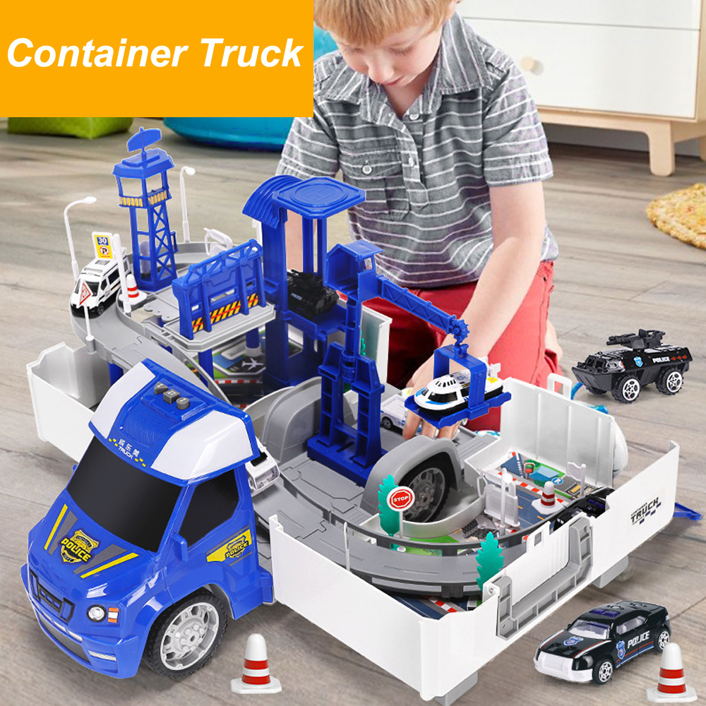 2in1 Railway Racing Tracks Electric Car Toys Parking lot with Light Music Assemble Container Truck Track Toys for Boys Gift