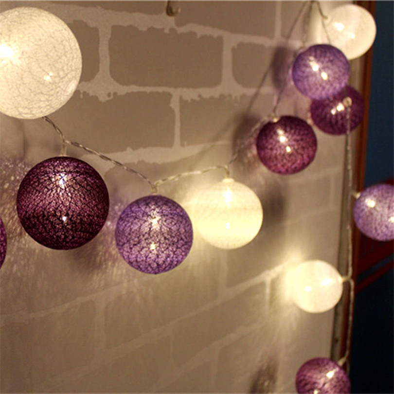 10/20/30pcs LED Cotton Ball String Lights For Patio Wedding Party Christmas Natal Garland Decor Indoor Fairy Warmth Light