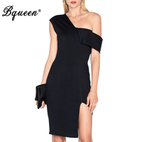 Hego 2016 New Black Asymmetricsal Off The Shoulder Sexy Bandage Dress Costumes