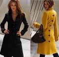 2015 Moda Outono Inverno das Mulheres de Lã Cashmere Trench Coat Plus Size XS-XXL