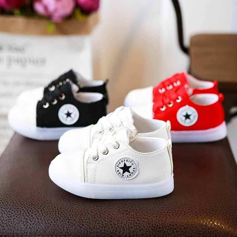 Primavera otoño nuevo encaje niños niñas zapatos luminosos parpadeantes zapatos de lona blanco puro color niñas pisos C349