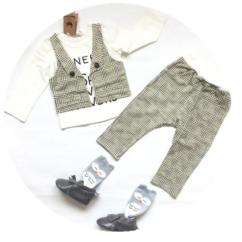 Boy Clothes 2016 New Design Spring Autumn Fashion Boys Set Baby Kids Gentleman T shirt + Pants children Brand boutique outfits