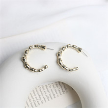 Europe America Hyperbolic Vintage INS Bamboo Letter C Round Circle Simple Hoop Earrings Fashion Jewelry-LAF