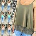 Verano de Las Mujeres atractivas Del Cordón inferior camis tapas Del Tanque Ocasionales Camiseta de Las Tapas de La Nueva Manera 2016
