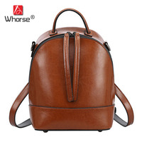 WHORSE Brand Logo Women Genuine Leather Backpack School Bag Travel Bookbag Casual Female Rucksack High