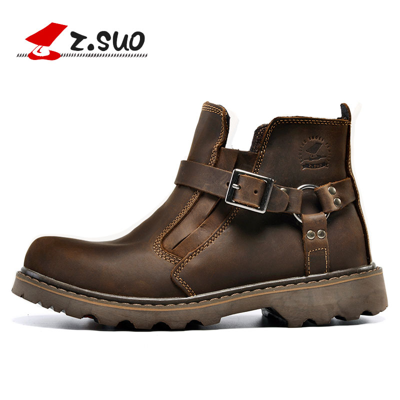 ZSUO Men Waterproof Leather Motorcycle Boots Vintage Motorbike Boots Shoes Motos Motorcyclists Street Riding Botas Chuteiras