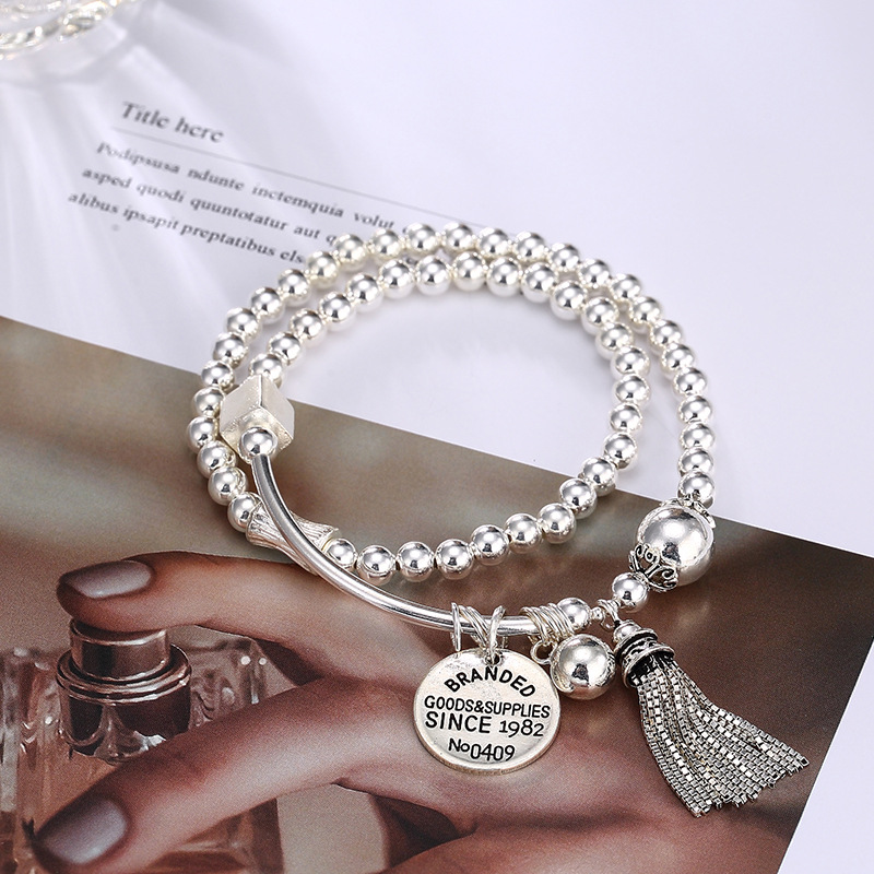 цена silver, Korean bead, silver bead, fringes, round card, personality, wild women, chain bracelet, hand chain wholesale.