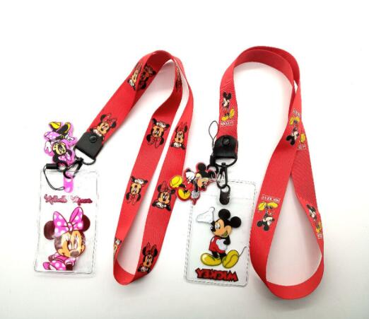 50 pcs cartoon mickey minnie stitch Named Card Holder Identity Badge with Lanyard Neck Strap Card