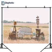DePhoto Sofa luggage flowers Old camera wilderness Wedding Outdoor Scenic Backgrounds Photography Backdrop Photo Studio