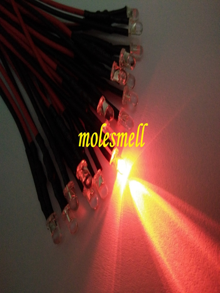 50pcs 3mm 24v Red Water Clear Round Led 24V DC 20cm Pre-Wired LED Red Led Light Lamp