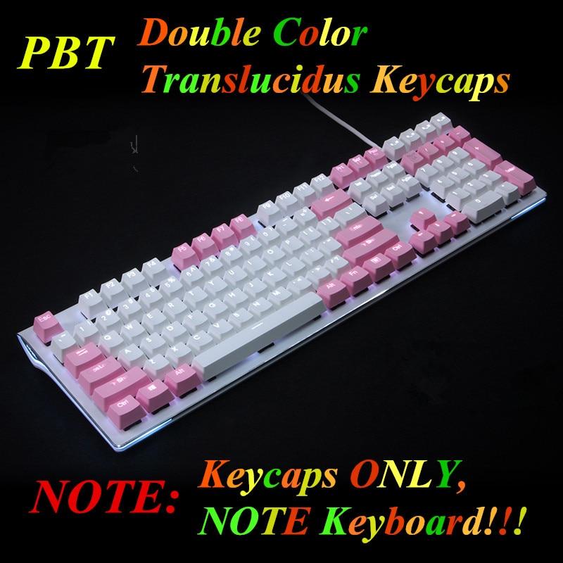 Translucidus Keycap White Pink match 108 PBT Keycap retroiluminado - Periféricos de la computadora - foto 2