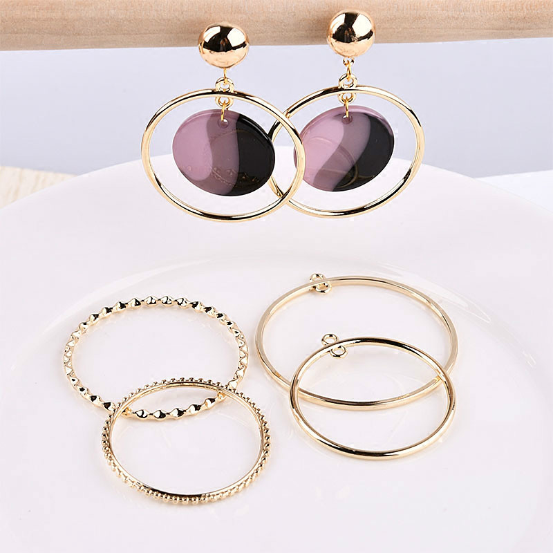 Korea geometric alloy electroplated double hanging round round DIY earrings accessories material package faux rammel alloy round square earrings