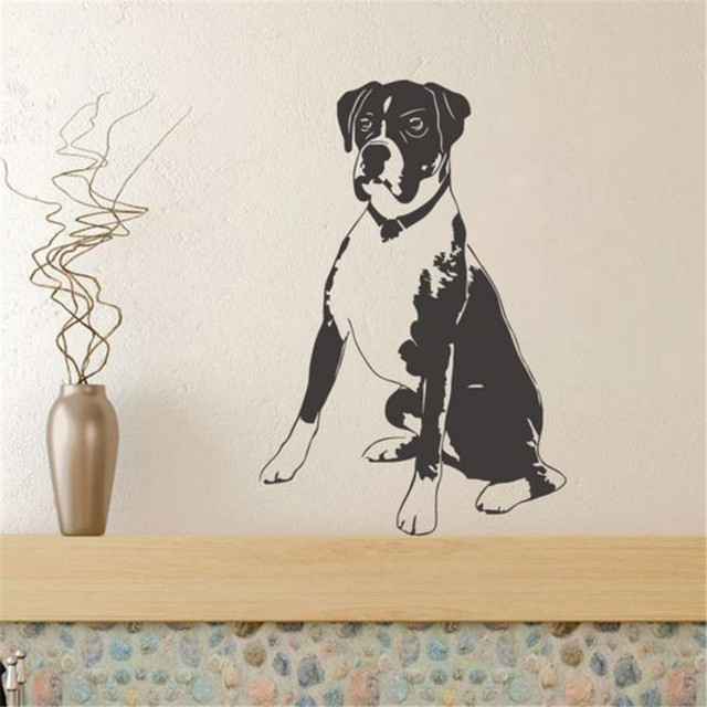 Sitting Dog Vinyl Wall Sticker Kids Room Funny Wall Paper Boxer Dog ...