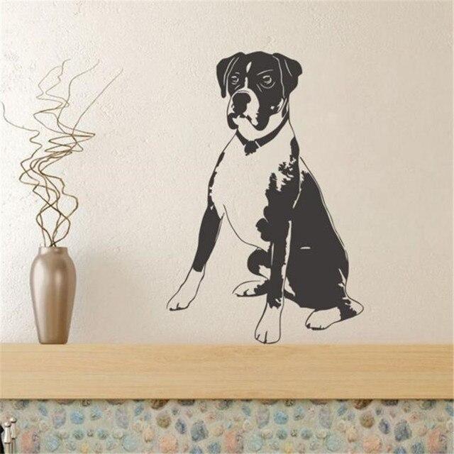 US $9.83 18% OFF Sitzen Hund Vinyl Wandaufkleber Kinderzimmer Lustige Wand  Papier Boxer Hund Removable Schlafzimmer Wandtattoos Wohnkultur in Sitzen  ...