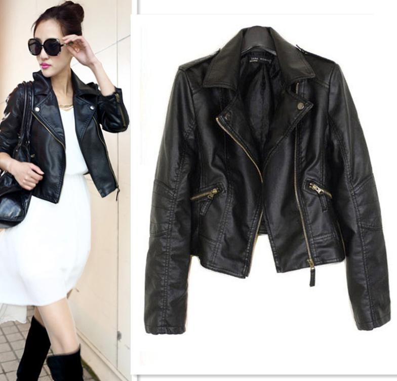 Brand New Women PU Leather Clothes Popular Motorcycle Jacket 5 Sizes Short Paragraph Diagonal Zipper Outerwear Coat
