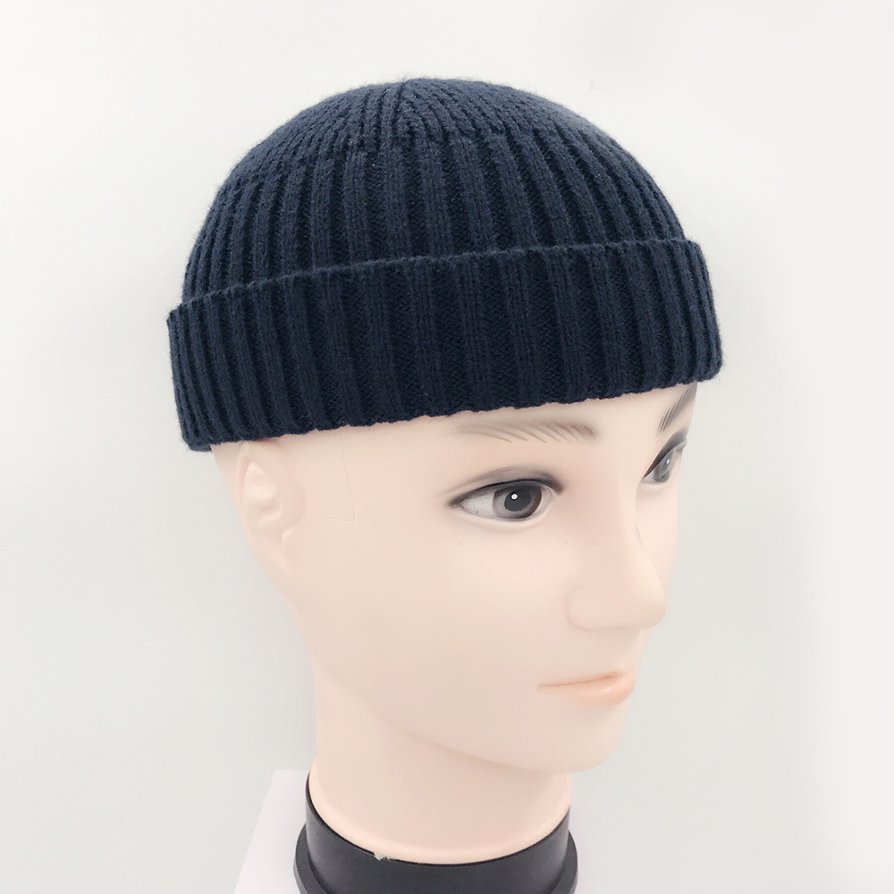 08286324633 Vintage Fashion Men Knitted Hat Beanie Skull cap Sailor Cap Cuff Brimless  Black Navy Grey Retro -in Skullies   Beanies from Apparel Accessories on ...