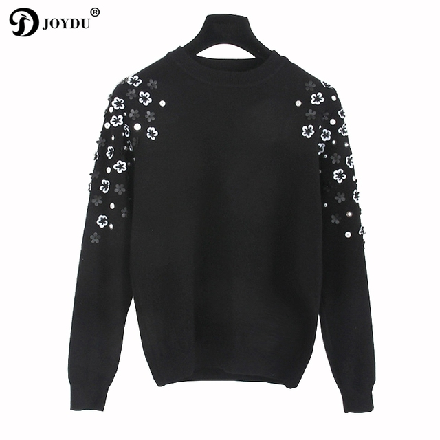 JOYDU Runway Design Sweater Women 2018 Korean Fashion Knit Pullover Flower  Beading Office Lady Winter Casual Jumper pull femme d295b3cc2
