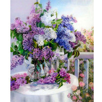 Square Drill Beautiful Lilac 5D Diy Diamond Embroidery Flowers Painting Europe Style Handicraft Cross Stitch Unfinish