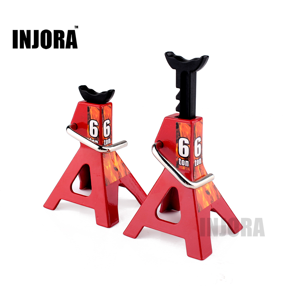 2PCS 6 TON Scale Metal Jack Stands Repairing Tool for 1/10  RC Crawler  Axial SCX10 Tamiya CC01 RC4WD D90 D110 TF2 injora 2pcs 90mm metal shock absorber for 1 10 rc crawler axial scx10 rc4wd d90 tamiya cc01