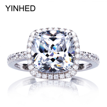 95% OFF !! YINHED Real Solid 925 Sterling Silver Engagement Ring 4 Carat Cubic Zirconia CZ Wed...