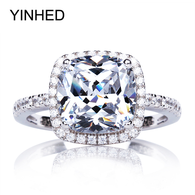 YINHED Real Solid 925 Sterling Silver Engagement Ring 4 Carat Cubic