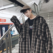2018 Spring Loose Size Korean Style Plaid Jacket Coat Mens Student Youth Thicken Lapel Hip-hop Free Shipping