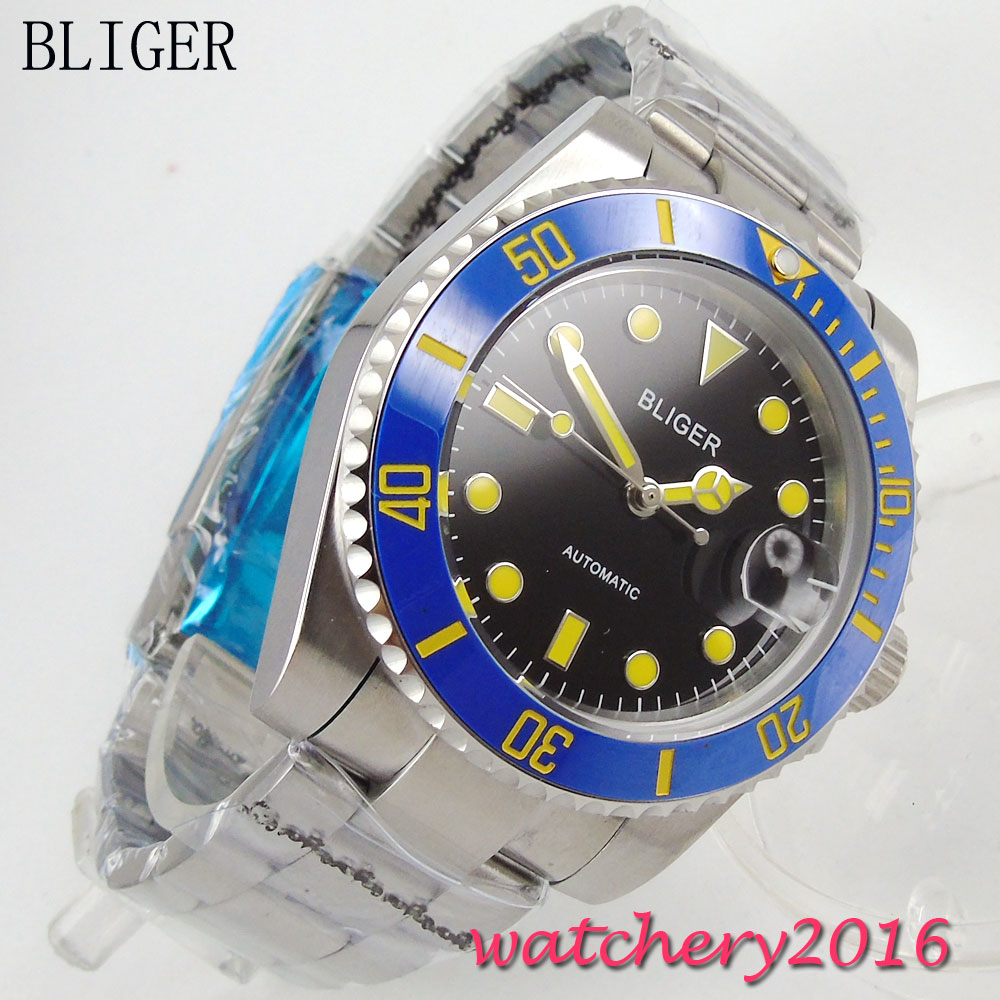 цена 40mm BLIGER Auto Watch Sapphire Crystal Sterile dial date Stainless steel no logo luminous marks Automatic Mechanical mens Watch онлайн в 2017 году