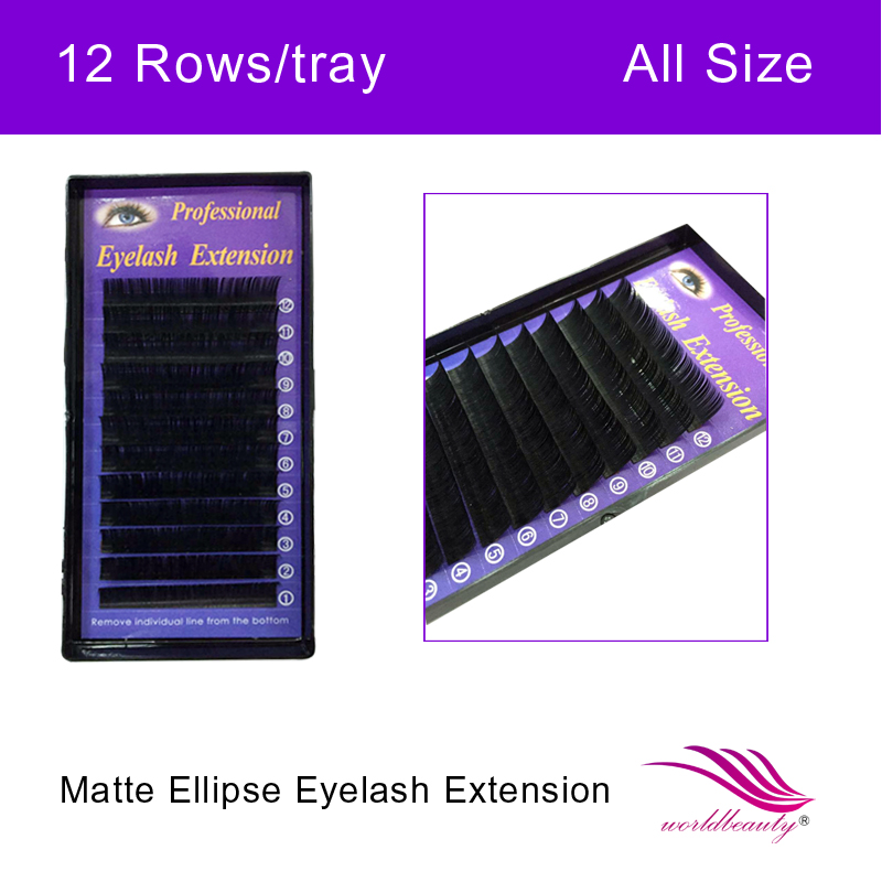Individual Eyelashes Cashmere Matte Ellipse Flat Double Tapered Ellipse Eyelash Extension 10 Trays/Lot 0.15/0.2/0.25mm Thickness