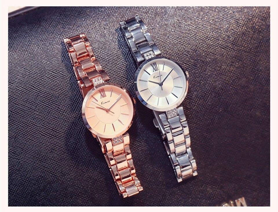 KIMIO Thin Clock Women Fashion Simple Watches Rhinestones Dress Woman Watch Rose Gold Quartz Ladies Women's Watch Wristwatch 21