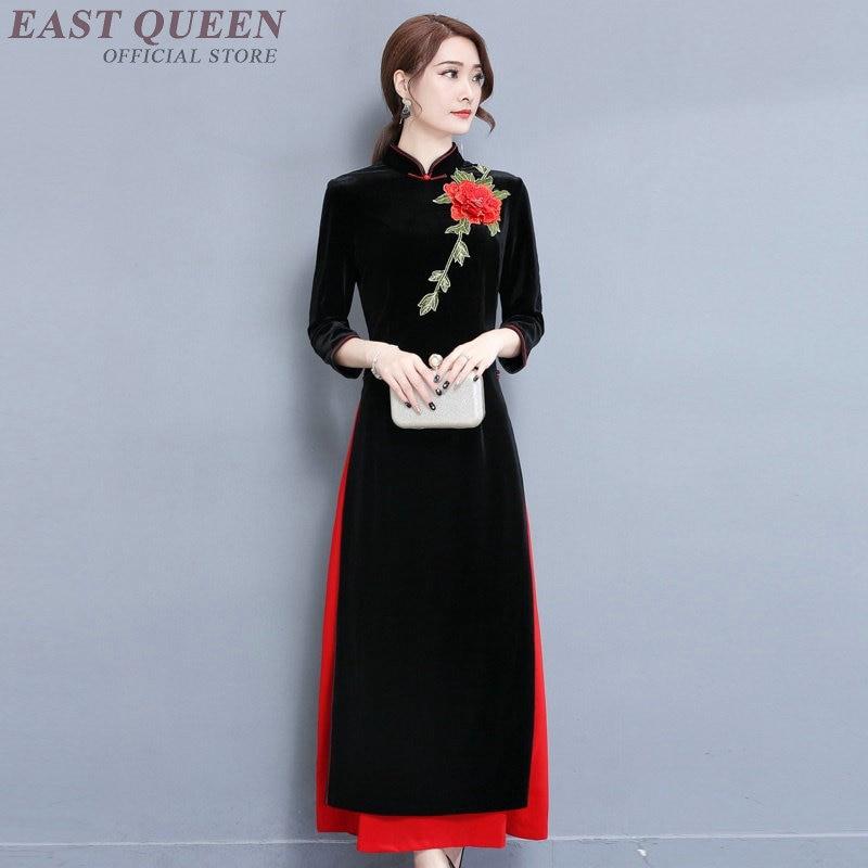 Traditional Chinese women cheongsam qipao elegant embroidered velour high quality oriental Chinese cheongsam women AA3409 F