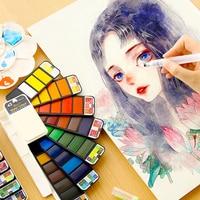 Веерообразная Акварельная краска твердый набор акварельных кистей с перьевой ручкой детская Акварельная краска 42 цвета художественные пр...