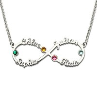 Women's Custom Infinity Nameplate Necklace Personalized 4 Name Necklaces with Birthstones Silver 925 Pendant for Women Collier
