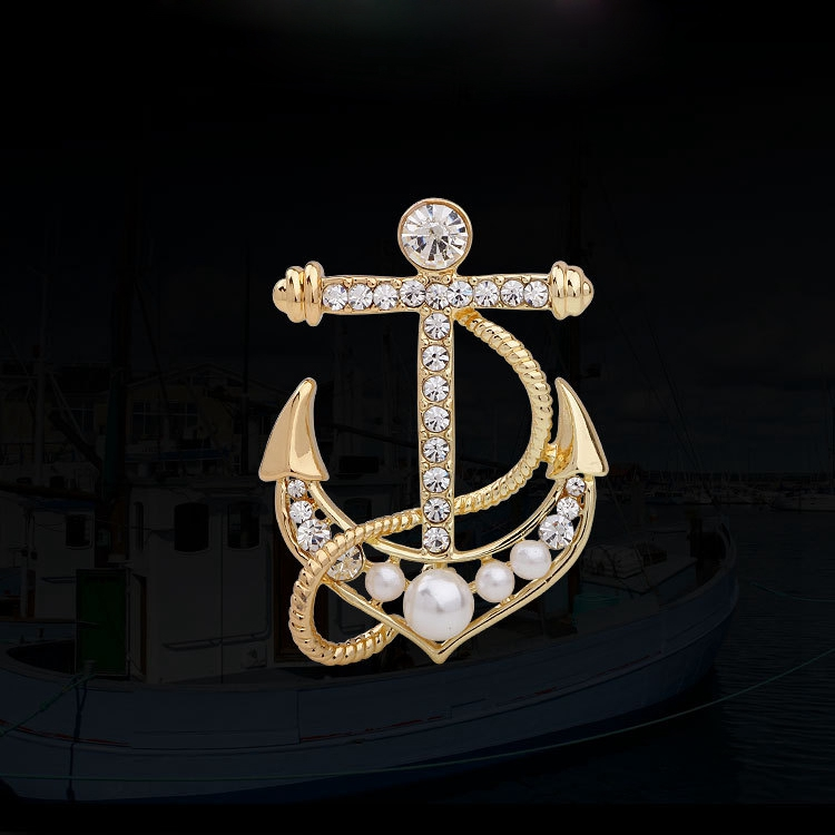 Perfecto Fashion Fill Silver Plated Anchor Brooch Shiny Austrian Crystal Broches Masculino Accessoris Hijab Pins Broche UK
