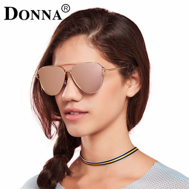 51cff0e85067 DONNA Unisex Retro Polarized Mirrored Aviator Sunglasses Pink with  Oversized Anti-glare Lens Double Bridge Unbreakable Frame D07