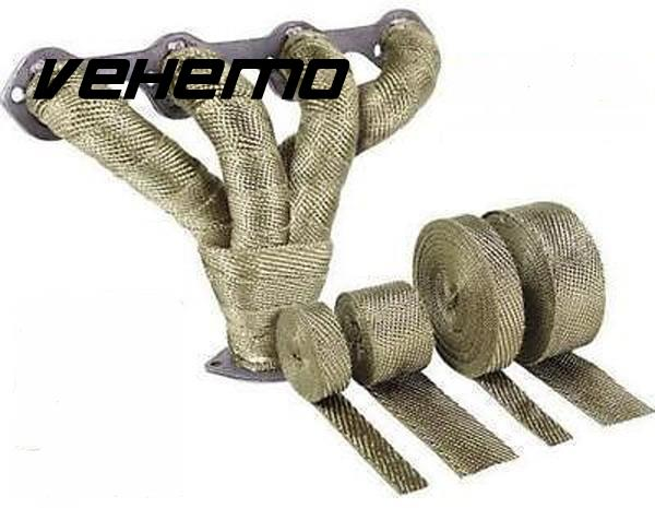 Vehemo 2x5m Titanium High Temp Exhaust Header Heat Wrap Army Green Heater Resistant Down ...