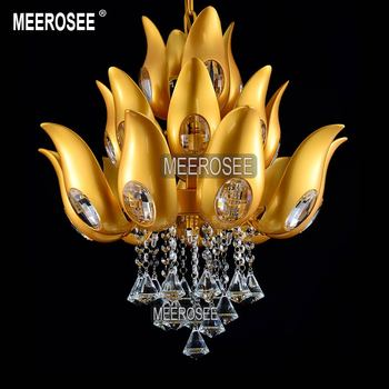 Bloemen Ontwerp Gouden Kristallen Kroonluchter verlichting armatuur Goud kleur Licht schorsing armatuur voor Lobby Foyer Trap MD15170