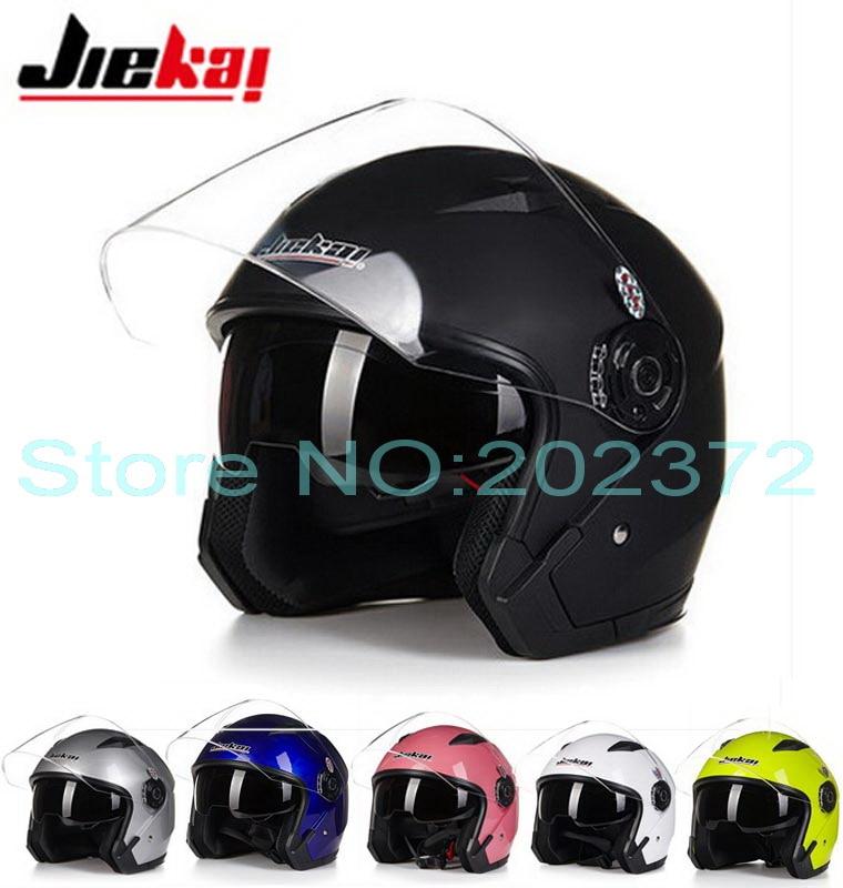 Dual lens Half face motorcycle helmet JIEKAI JK512 electric bicycle motorbike helmets Seasons of ABS10 Colors