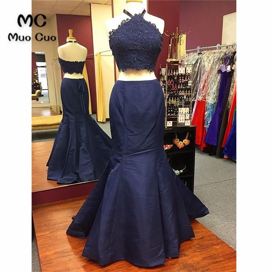 Bleu foncé 2018 2 pièces robe épaule dénudée robes de bal Long Satin Vestido Longo Zipper retour sirène formelle soirée robe de soirée