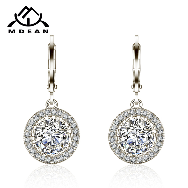 MDEAN White Gold Color  AAA Zircon Special Design Earrings For Women Wedding Luxury Jewelry  Boucle D'oreille Brincos MSE021