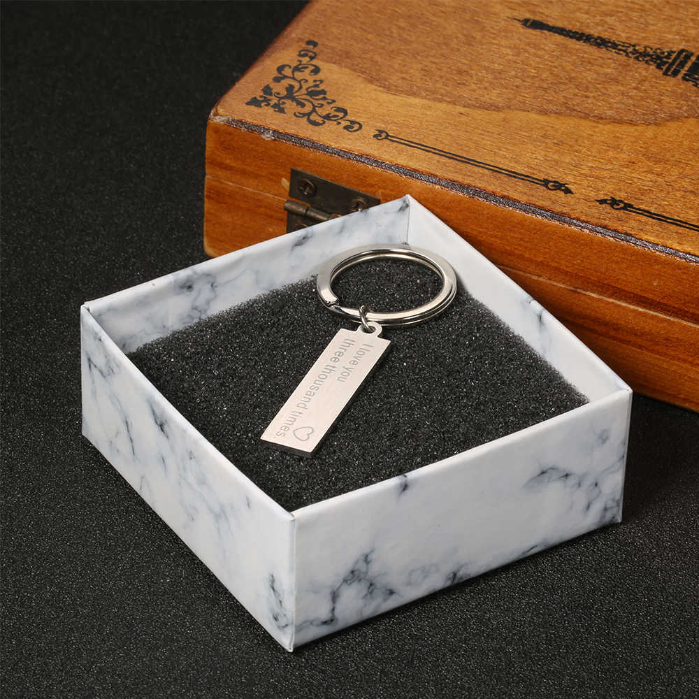 """Изготовленный на заказ Модная цепочка для ключей с подарки кулон с выгравированными словами """"простой брелок пары брелки для ключей для парня девушки Ювелирный ключ цепи"""